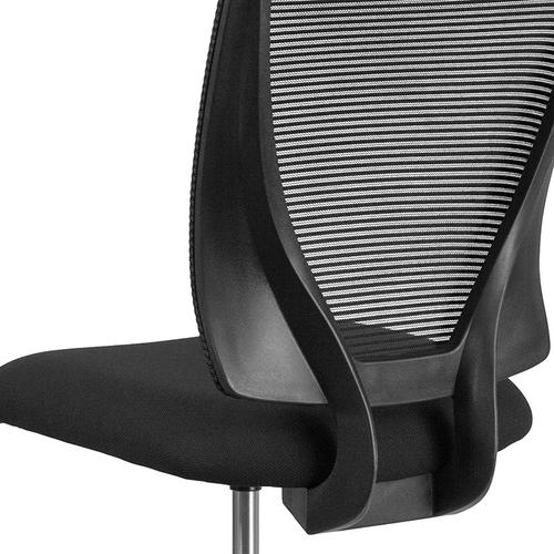 Gallery - Ergonomic Mid-Back Mesh Drafting Chair with Black Fabric Seat and Adjustable Foot Ring