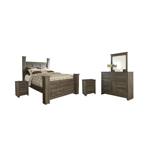 Queen Poster Bed With 2 Storage Drawers With Mirrored Dresser and 2 Nightstands