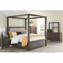 King Size Canopy Bed with 4 Storage Drawers