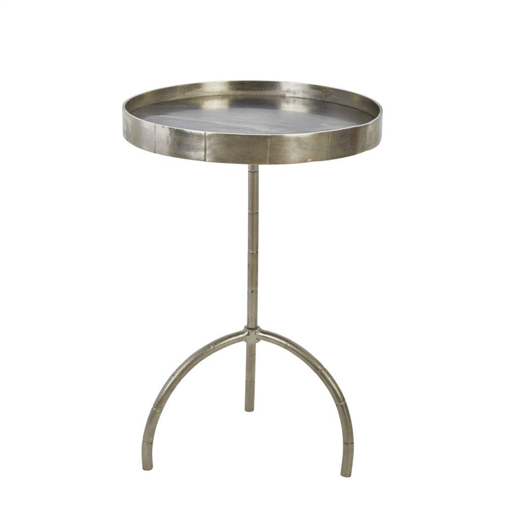 "Iron 27"" Accent Table W/marbletop, Silver"