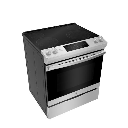 "GE 30"" Electric Slide-In Front Control Range with Storage Drawer Stainless Steel - JCSS630SMSS"