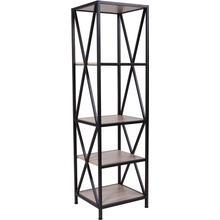 "Product Image - Chelsea Collection 4 Shelf 61""H Cross Brace Bookcase in Sonoma Oak Wood Grain Finish"