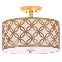 See Details - Cecily Leaf Trellis 3 Light 15-inch Dia Gold Flush Mount - Gold