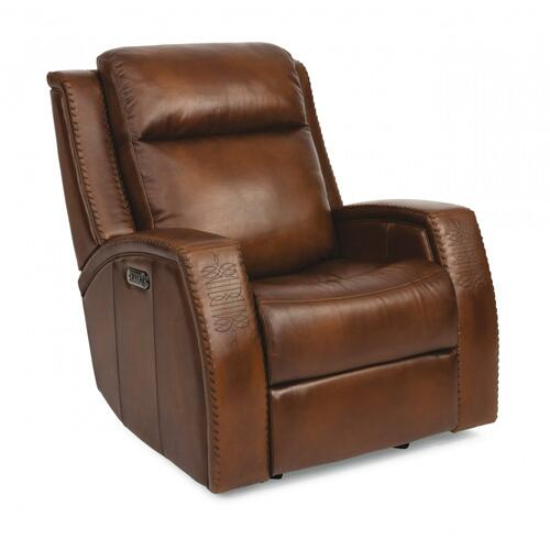 Mustang Leather Power Gliding Recliner with Power Headrest