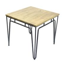 Metal Accent Table W/ Naturalwood Top, Black