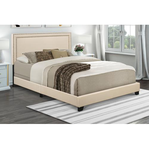 Product Image - Upholstered Queen Bed with Nailhead Trim in Cream