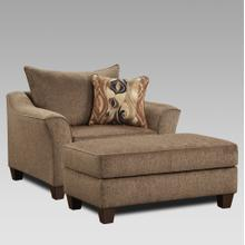 Camero Cafe Fabric Accent Chair and Ottoman Set