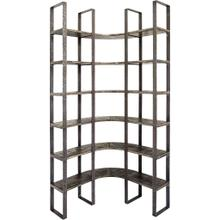 Turner I 37L x 10.5W x 90H Curved Brown Wood and Black Iron Six Shelving Unit