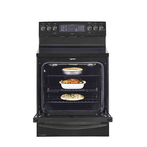 "GE Profile™ 30"" Free Standing Electric True Convection Range with Baking Drawer Black Stainless Steel - PCB987BMTS"