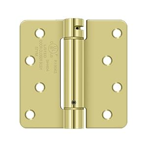 "4"" x 4"" x 1/4"" Spring Hinge, UL Listed - Polished Brass"