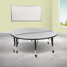 """See Details - 2 Piece Mobile 60"""" Circle Wave Flexible Grey Thermal Laminate Kids Adjustable Activity Table Set"""