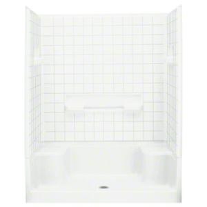 """Advantage™, Series 6204, 60"""" x 34"""" x 76"""" Seated Shower with Age in Place Backers - White Product Image"""