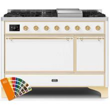 Majestic II 48 Inch Dual Fuel Natural Gas Freestanding Range in Custom RAL Color with Brass Trim