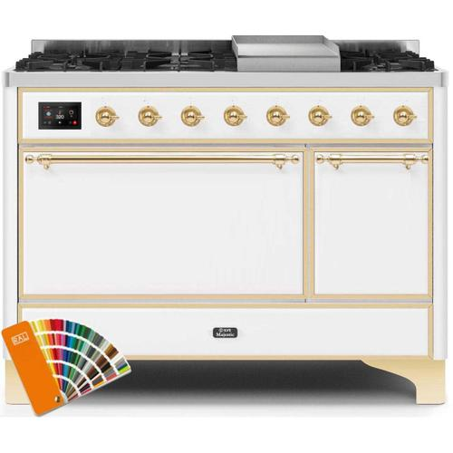 Ilve - Majestic II 48 Inch Dual Fuel Natural Gas Freestanding Range in Custom RAL Color with Brass Trim