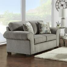 See Details - Marcey Nickel Fabric Loveseat with Pillows