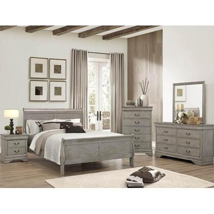 Louis Philip Queen 6PC. Bedroom Set - Grey