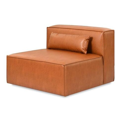 Mix Modular Armless Chair Vegan Appleskin Leather Cognac