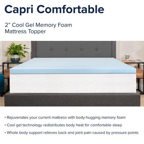 Flash Furniture - Capri Comfortable Sleep 2 inch Cool Gel Memory Foam Mattress Topper - Full