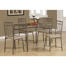 DINING SET - 5PCS SET / ESPRESSO MARBLE / BRONZE METAL