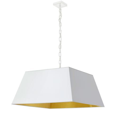 1lt Milano Large Pendant, Wht/gld Shade, Wht