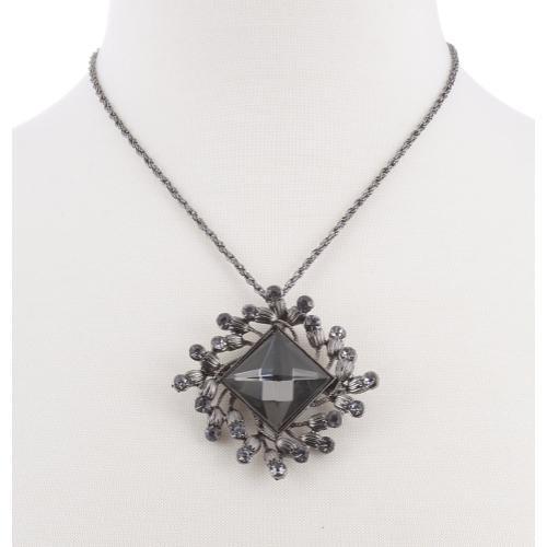 BTQ Grey Stone Charm on Chain