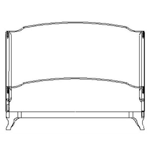 US Cali King Louis XV bed (Grey weathered/Silk muscatelle)
