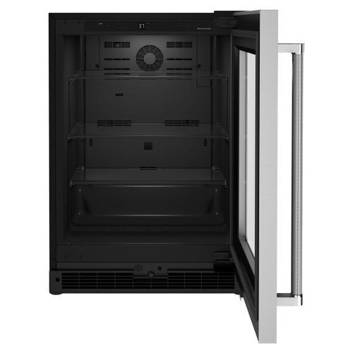 """24"""" Undercounter Refrigerator with Glass Door - Black Cabinet/Stainless Doors"""