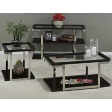 View Product - Cocktail Table W/pie Crust Top, Glass Insert, Shelf, Casters & Stainless Steel Frame