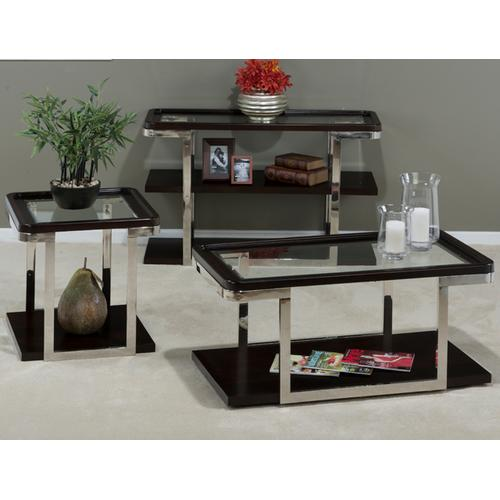 Cocktail Table W/pie Crust Top, Glass Insert, Shelf, Casters & Stainless Steel Frame