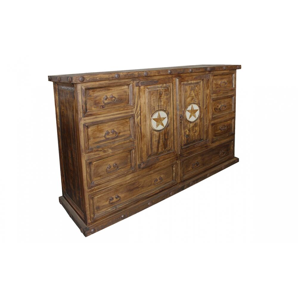 Laredo 8 Drawer 2 Door Dresser w/ Marble Stars