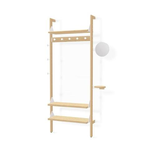 Product Image - Branch-1 Entryway Unit Blonde Uprights White Brackets Blonde Shelves