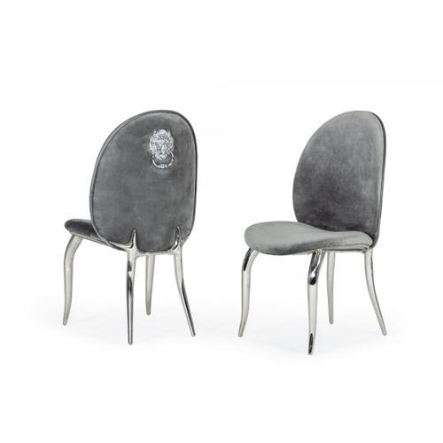 Modrest Vince - Modern Grey Velvet Dining Chair Set of 2