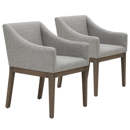 Shelter Style Upholstered Dining Chair in Heathered Gray