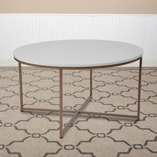 See Details - Hampstead Collection White Coffee Table with Matte Gold Frame