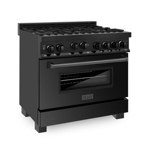 """Zline Kitchen and Bath - ZLINE 36"""" Professional 4.6 cu. ft. Gas on Gas Range in Black Stainless Steel (RGB-36) [Color: Black Stainless Steel]"""