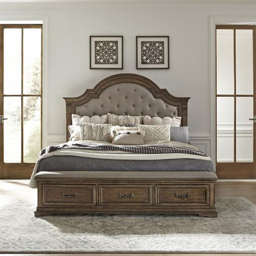 Opt Queen Storage Bed, Dresser & Mirror, Chest