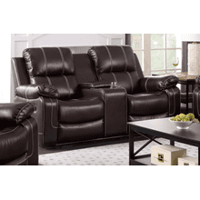 Adelle Recliner Loveseat With Console, Chocolate