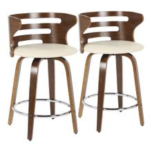 Cosini Counter Stool - Set Of 2 - Walnut Wood, Cream Pu, Chrome