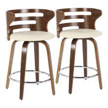 See Details - Cosini Counter Stool - Set Of 2 - Walnut Wood, Cream Pu, Chrome