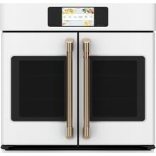 """See Details - Café ™ 30"""" Built-In French-Door Single Convection Wall Oven Matte White"""