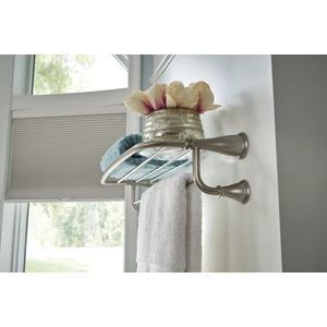 "Banbury brushed nickel 24"" towel bar with shelf"