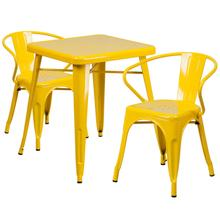 "Commercial Grade 23.75"" Square Yellow Metal Indoor-Outdoor Table Set with 2 Arm Chairs"