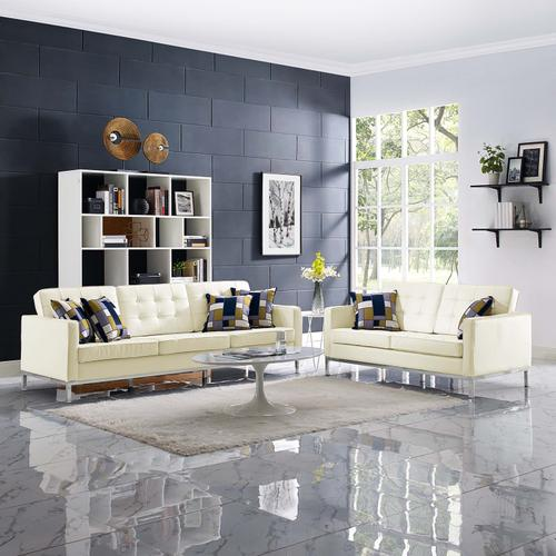 Modway - Loft 2 Piece Leather Sofa and Loveseat Set in Cream White