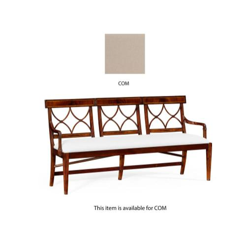 Three seater Regency mahogany bench, upholstered in COM