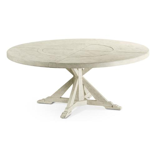 """72"""" Whitewash Driftwood Round Dining Table with Inbuilt Lazy Susan"""