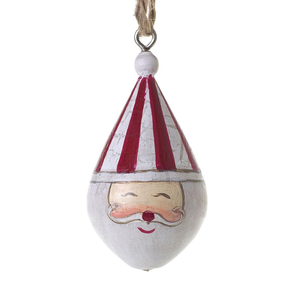 """See Details - Candystripe Santa Collection (Shape:Ornament, Size:1""""x 2"""", Color:Red)"""