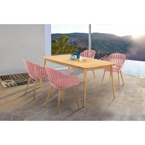 Nassau Outdoor Arm Dining Chairs in Pink Peony Finish with Wood legs- Set of 2