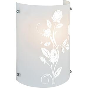 Wall Lamp, Printed Frost Glass Shade, E27 Cfl 20w