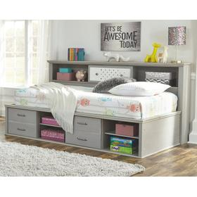 Arcella Twin Bookcase Bed Gray