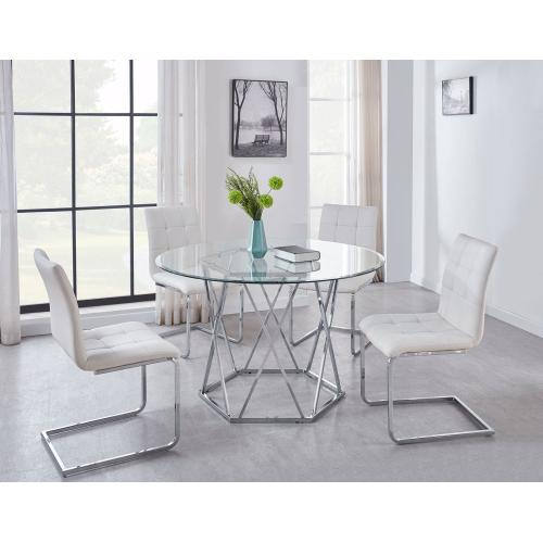 Steve Silver Co. - Escondido White 5 Piece Set (Glass Top Table & 4 Side Chairs)
